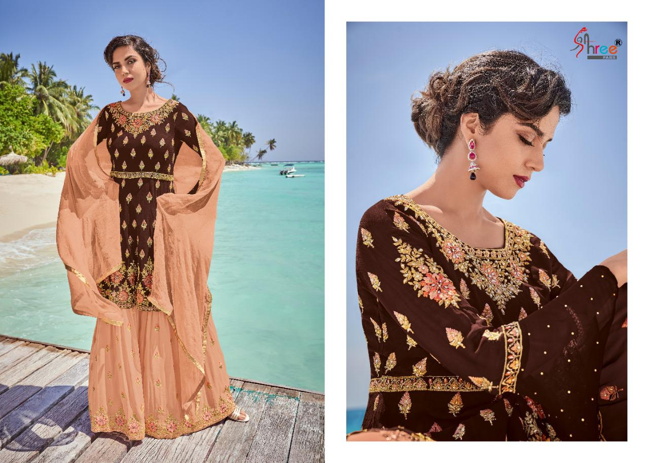 Shree Fabs Rajshree Designer Heavy Georgette With Heavy Embroidery Diamond Khatli Work Suits At Wholesale Rate