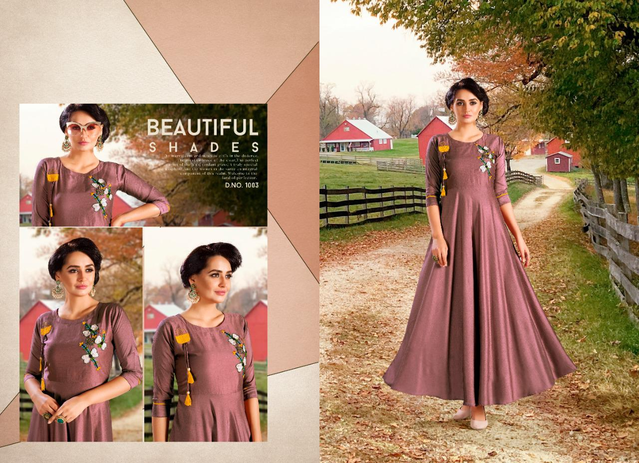 Shubh Nx Aayna Vol 1 Chinon With Heavy Embroidery Work Readymade Gown At Wholesale Rate