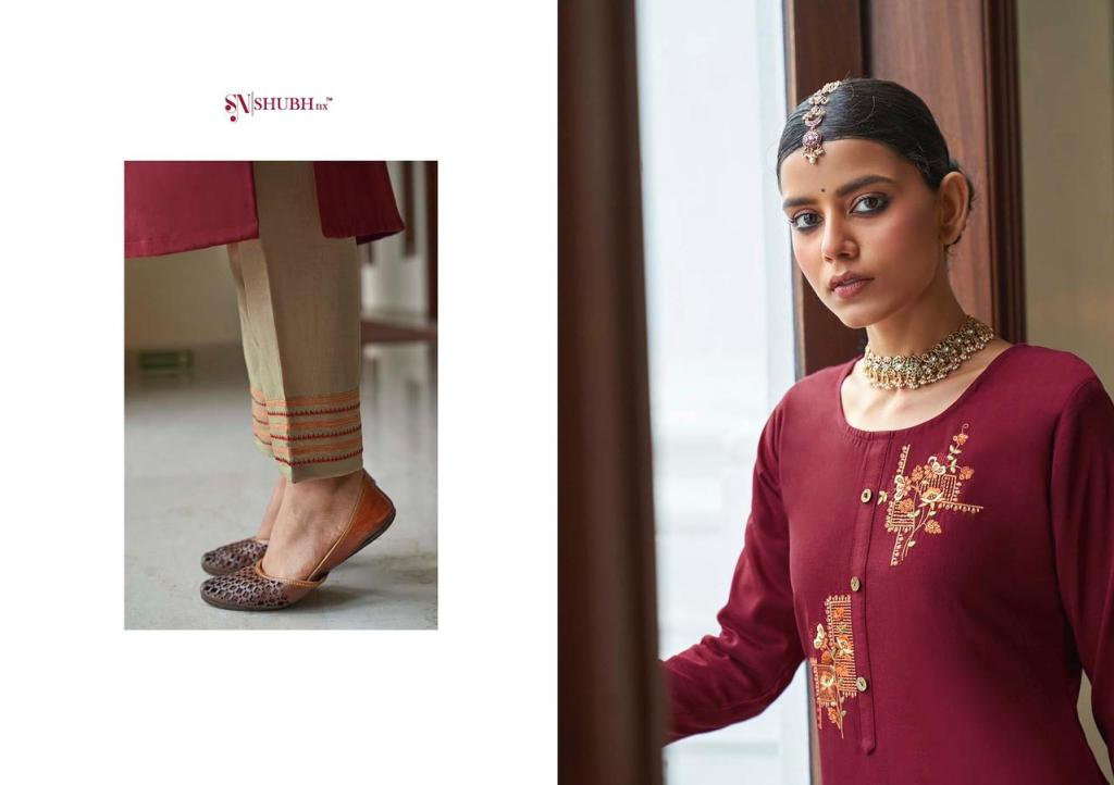 Shubh Nx Aasiya Chinon With Inner Embroidery Work Designer Kurti With Bottom Collection At Wholesale Rate