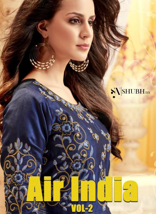 Shubh Nx Air India Vol 2 Taffeta Silk With Embroidery Work Long Flair Readymade Gown Style Kurtis Collection Surat