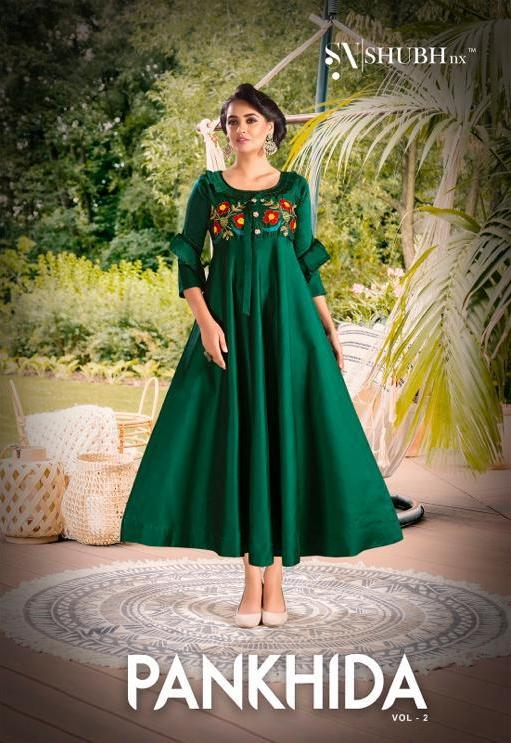 Shubh Nx Pankhida Vol 2 Tapeta Satin With Embroidery Work Long Party Wear Gown At Wholesale Rate