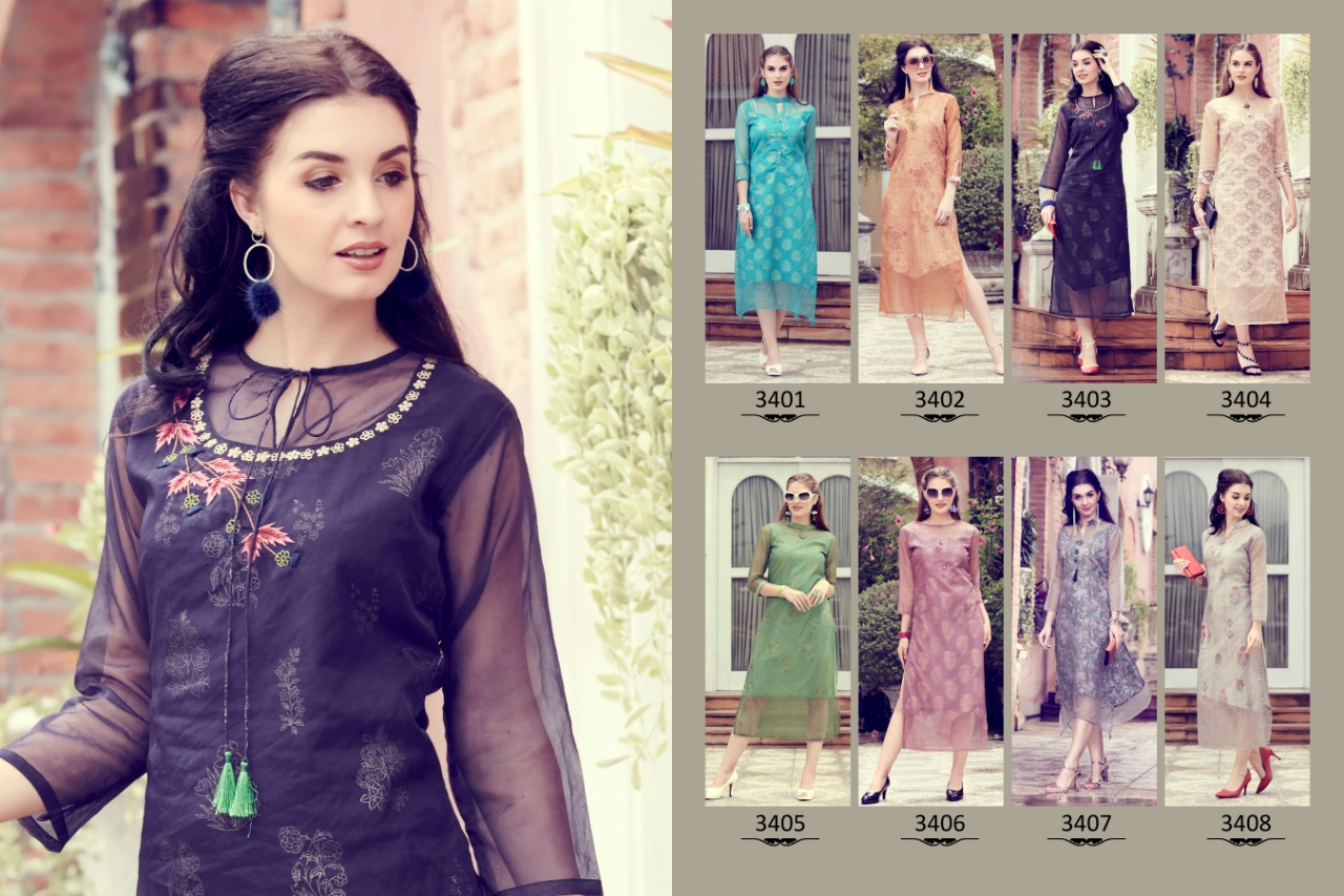 Sinzara Pureganza 3401-3408 Series Designer Organza Readymade Kurtis Collection At Wholesale Rate