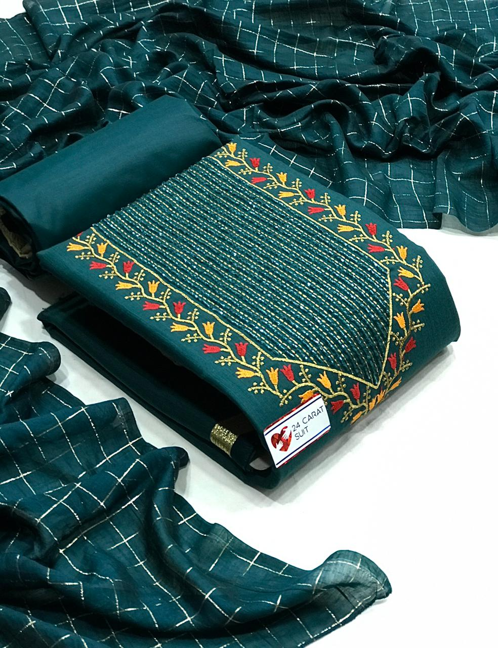 Slub Cotton With Embroidery Work Dress Material Collection At Wholesale Rate