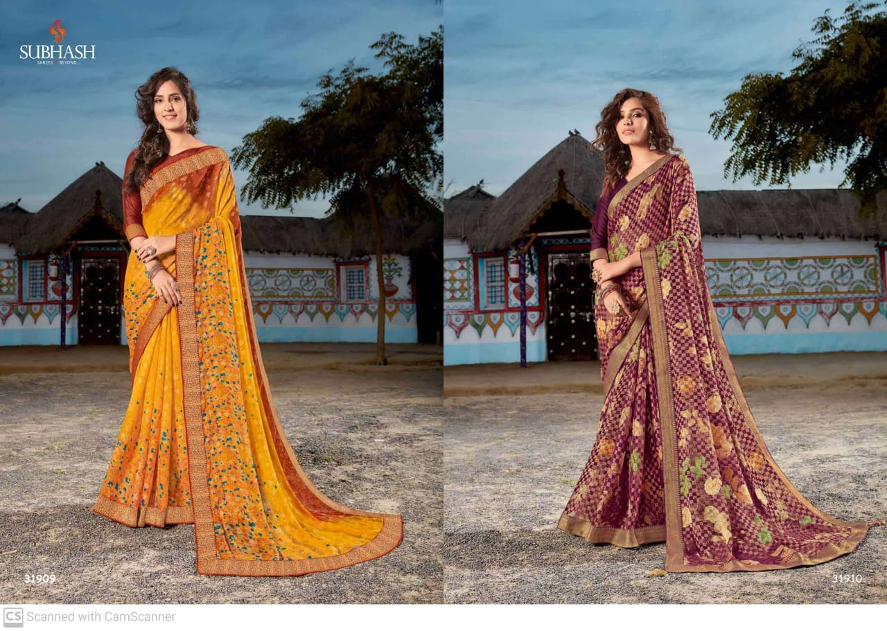 Subhash Sarees Virasat Georgette With Digital Print Fancy Sarees Collection At Wholesale Rate