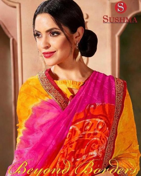 f08c6d0ed3 Sushma Beyond Borders Printed Georgette Regular Wear Sarees Collection at Wholesale  Rate
