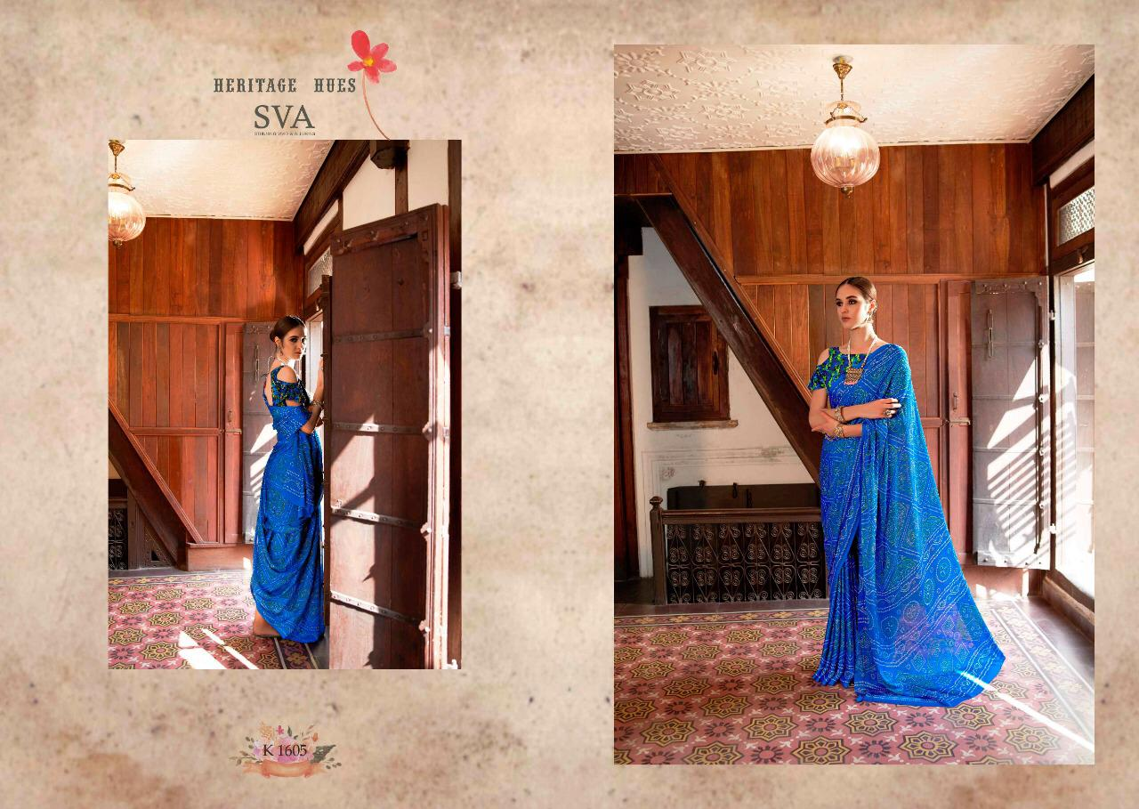 Sva Heritage Printed Weightless Georgette Sarees Collection At Wholesale Rate