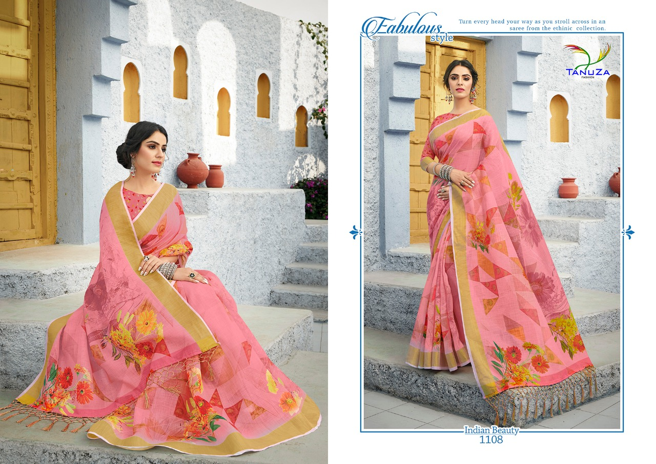 Tanuza Fashion Indian Beauty Vol 6 Linen Digital Printed Regular Wear Sarees Collection At Wholesale Rate