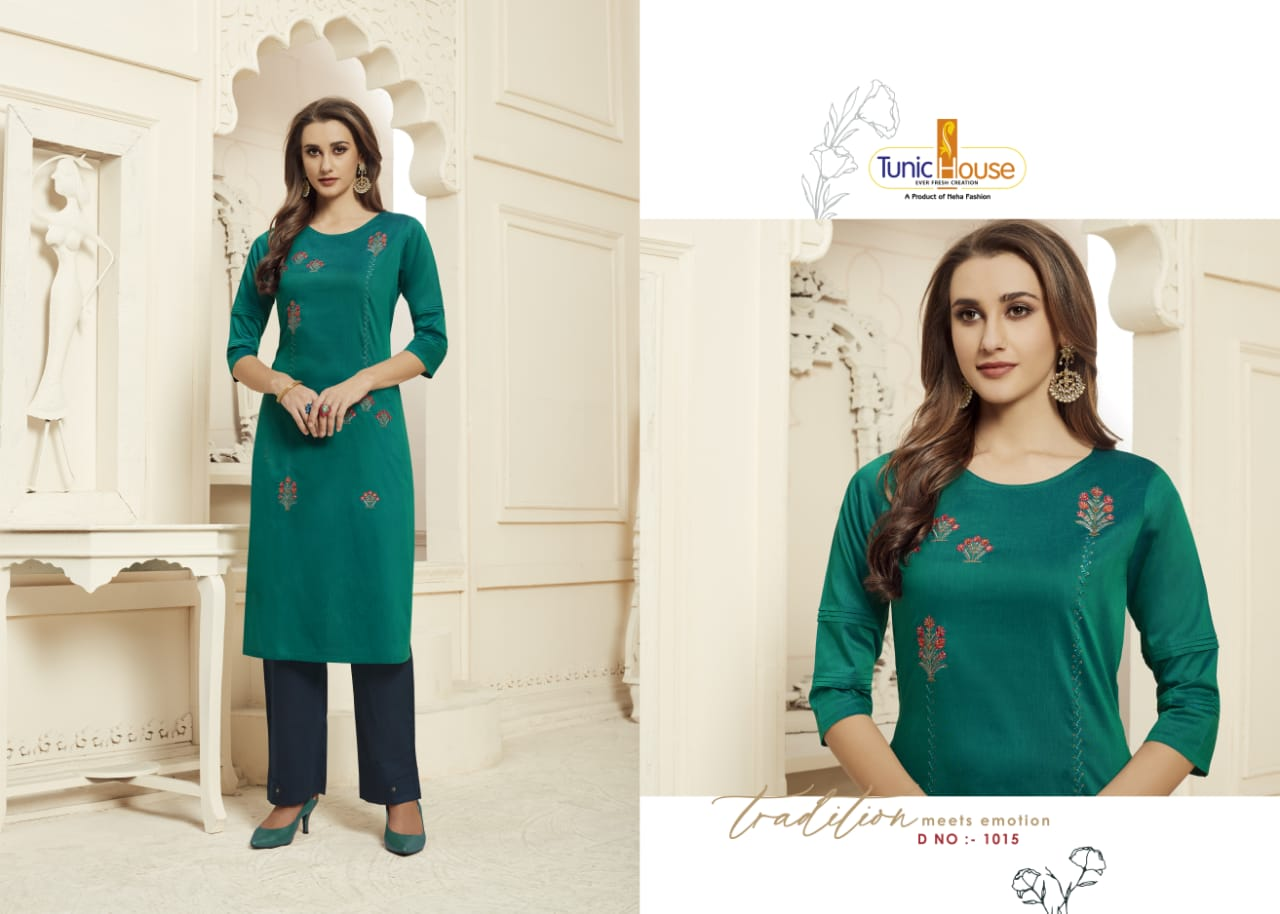 Tunic House Nilu With Pant Vol 2 Silk Hand Embroidery Khatli Work Readymade Kurtis With Pant Manufacturer