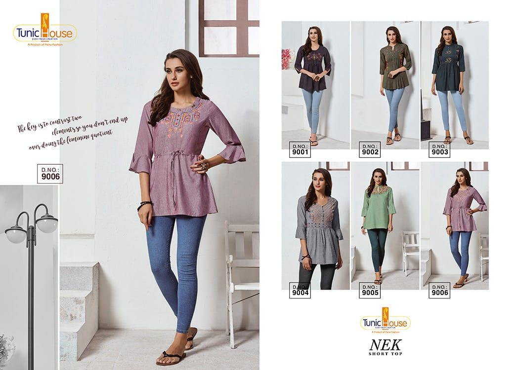 Tunic House Nek Designer Rayon With Embroidery Work Readymade Short Kurti Tops At Wholesale Rate