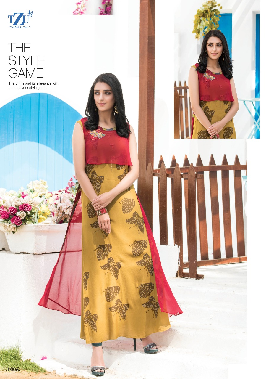 Tzu Nancy Designer Printed Georgette And Cotton Stylish Readymade Kurtis At Wholesale Rate
