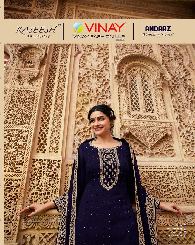 Vinay Fashion Kaseesh Andaaz Georgette With Embroidery Work With Swarovski Work Dress Material At Wholesale Rate