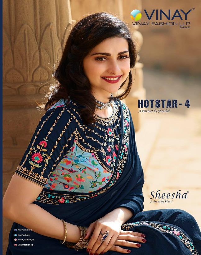 Vinay Fashion Sheesha Hotstar Vol 4 Heavy Silk With Embroidery Work Party Wear Sarees Collection At Wholesale Rate
