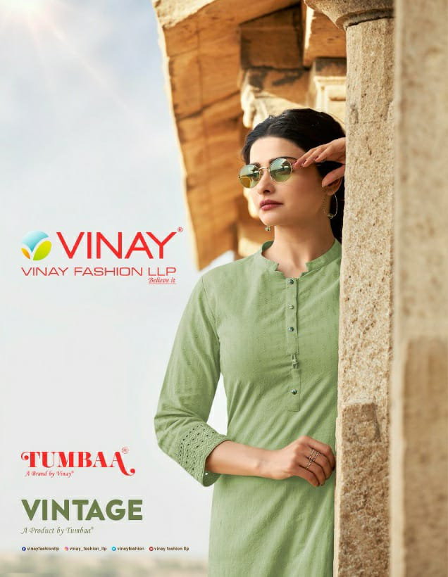 Vinay Fashion Tumbaa Vintage Pure Cotton With Self Weave Kurti With Bottom Collection At Wholesale Rate