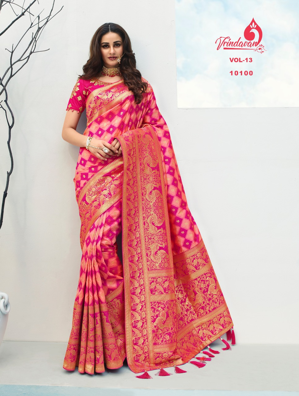 Vrindavan Hit List Soft Silk Heavy Wedding Wear Sarees Collection At Wholesale Rate