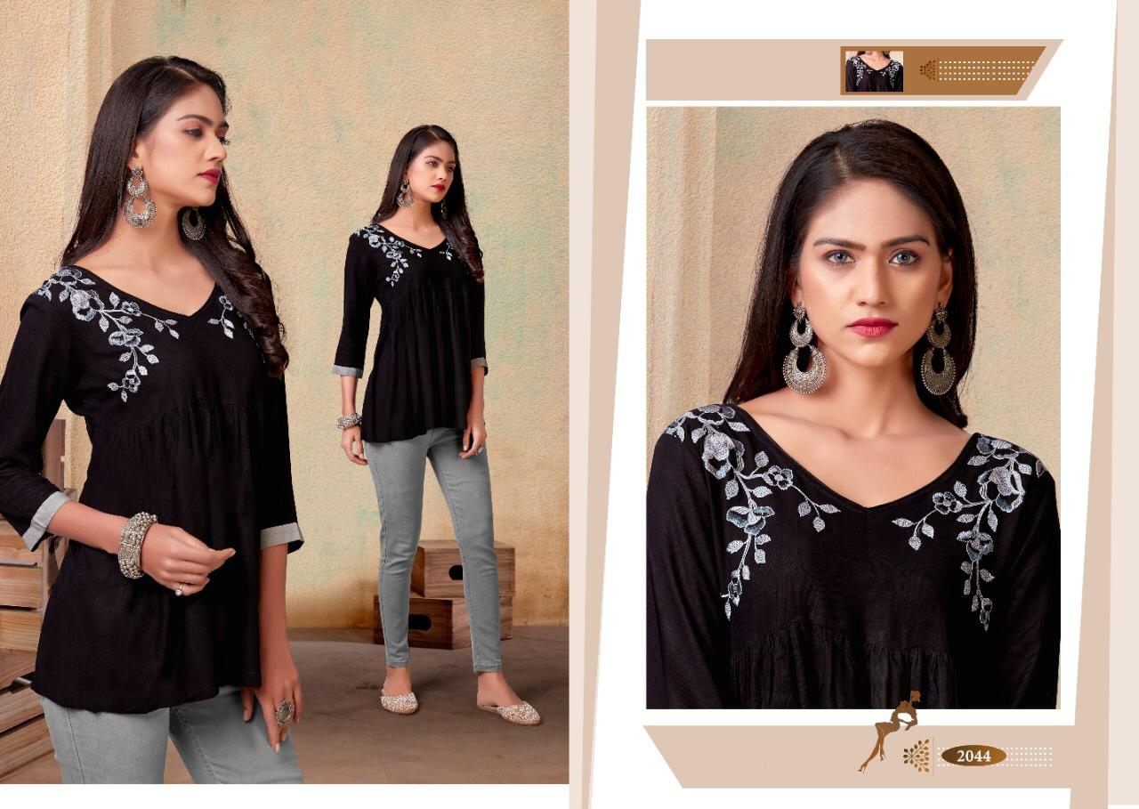 Vardan Designer Nora Vol 1 Rayon With Embroidery Work Readymade Short Tops Collection At Wholesale Rate