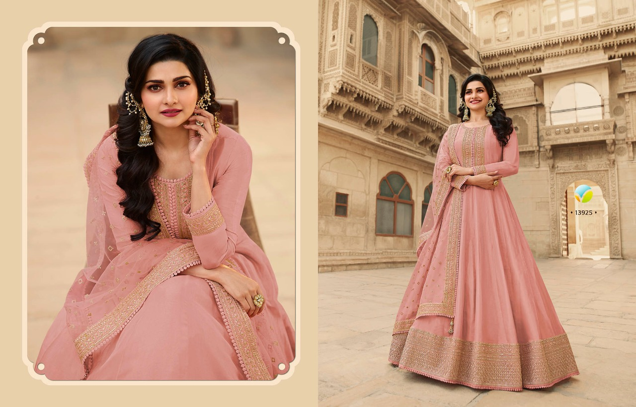 Vinay Fashion Kaseesh Parimahal Dola Silk With Embroidery Work Salwar Suits Collection At Wholesale Rate