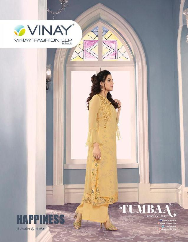 Vinay Fashion Tumbaa Happiness Georgette With Work And Digital Printed Inner Readymade Kurtis With Bottom At Wholesale Rate