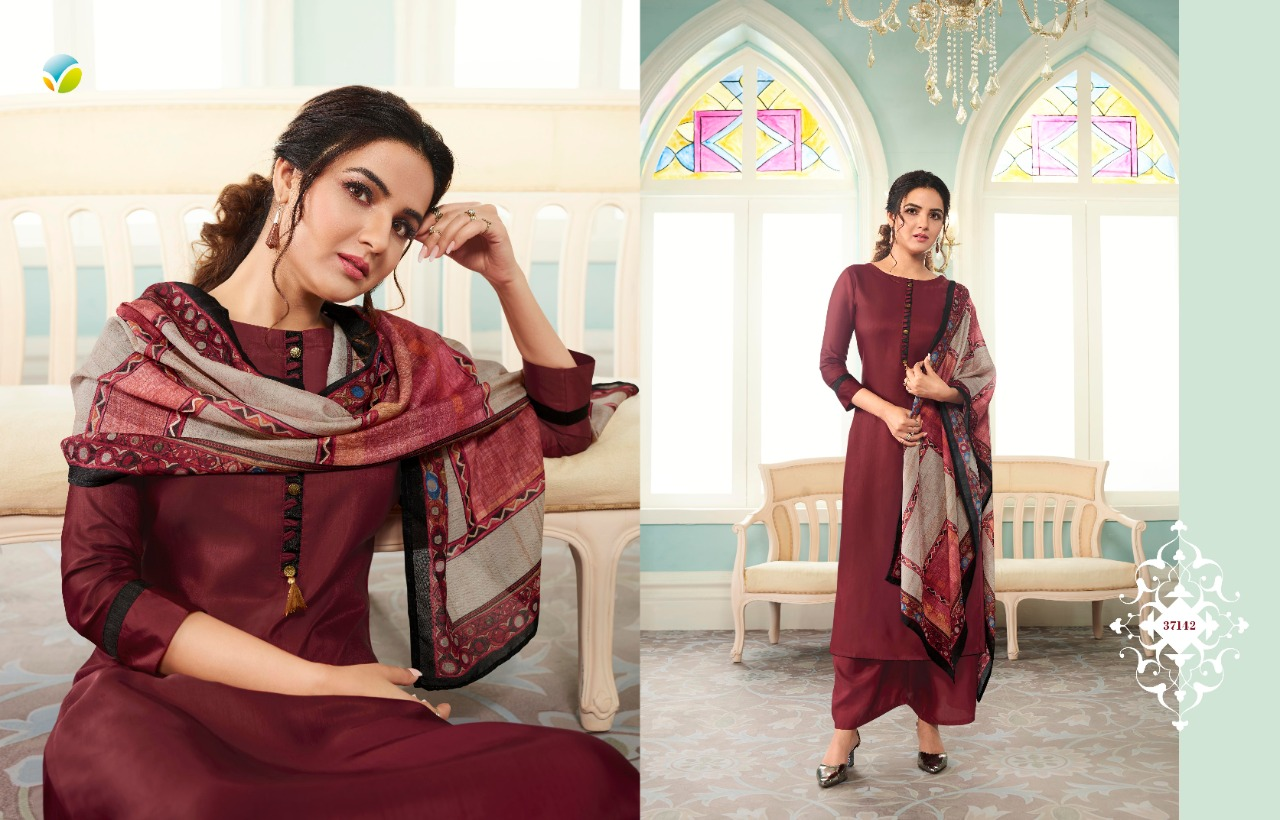 Vinay Fashion Tumbaa Runway Plus Designer Soft Silk Readymade Kurtis With Printed Stole And Palazzo Collection At Wholesale Rate