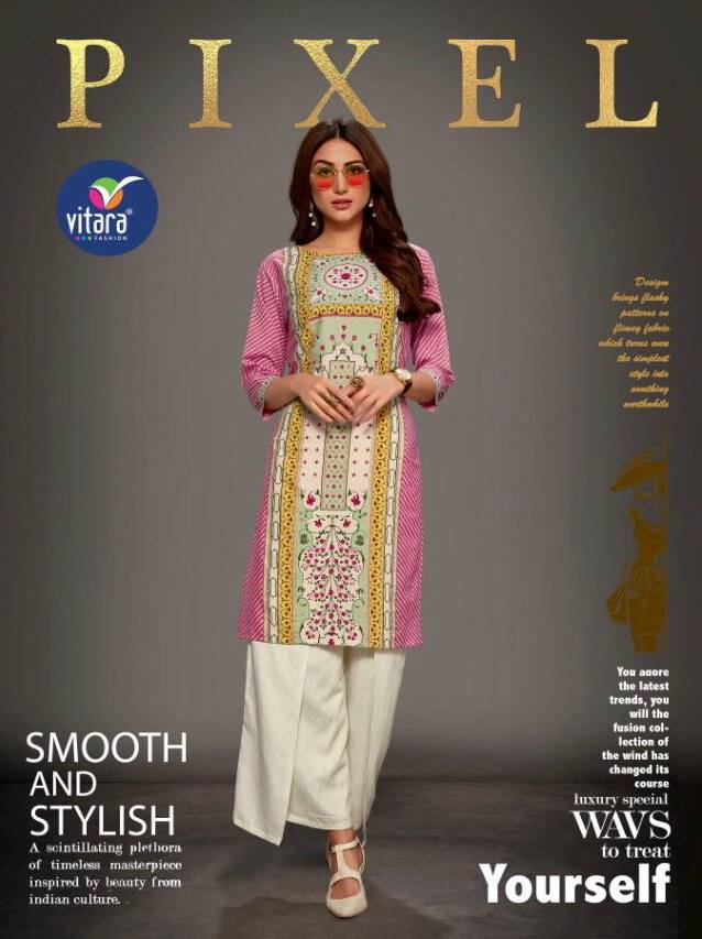 Vitara Pixel Pure Heavy Crepe With Foil Print Readymade Kurtis At Wholesale Rate