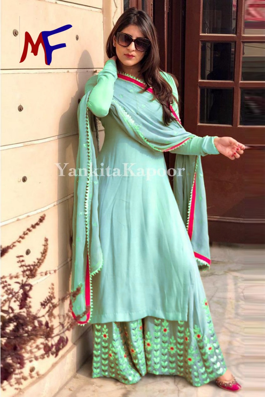 Good Quality Georgette Top With Beautiful Fully Embroidered Georgette Plazzo