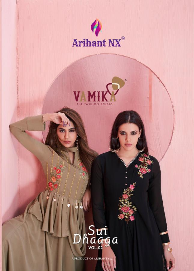Arihant Nx Sui Dhaaga Vol 2 Designer Stylish Semi Georgette With Handwork Party Wear Readymade Kurtis At Wholesale Rate