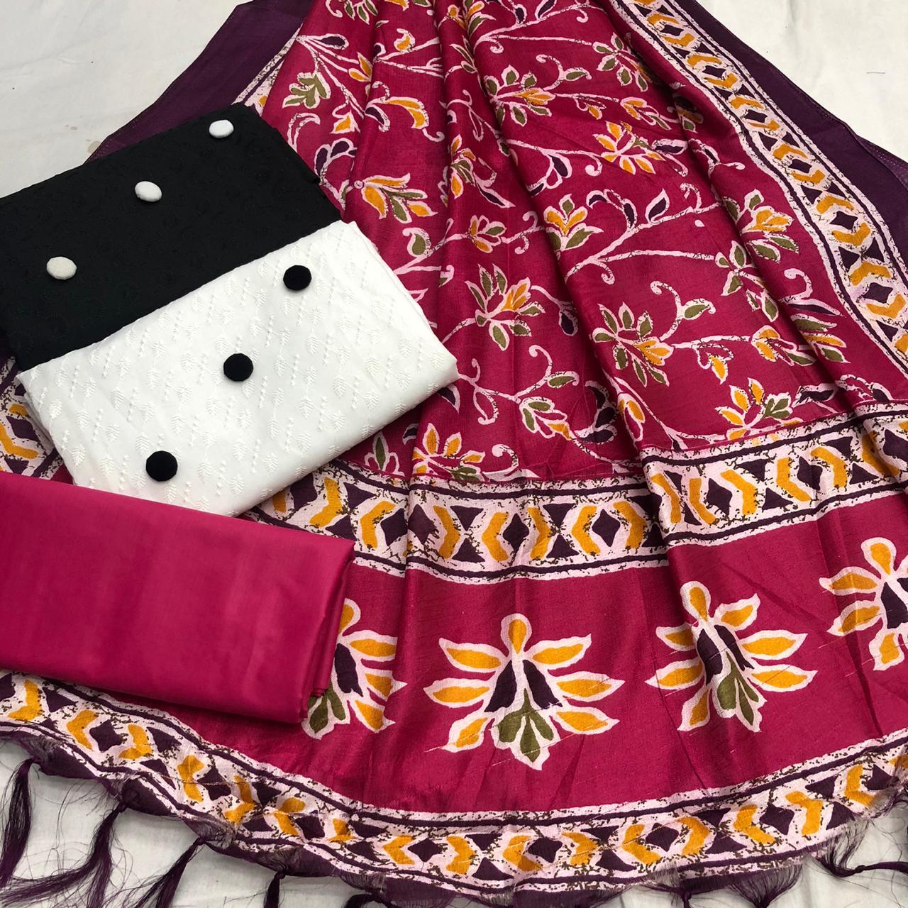 Non Catalog Black And White Cotton With Chikan Work 2 Top With Manipuri Silk Dupatta Dress Material At Wholesale Rate