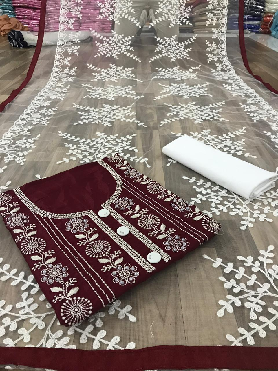 Non Catalog Glace Cotton With Heavy Embroidery Work Dress Material Collection At Wholesale Rate