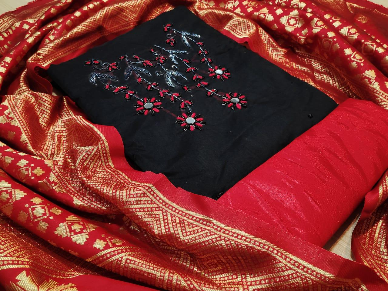 Non Catalog Modal Chanderi Silk With Handwork Dress Material Collection At Wholesale Rate