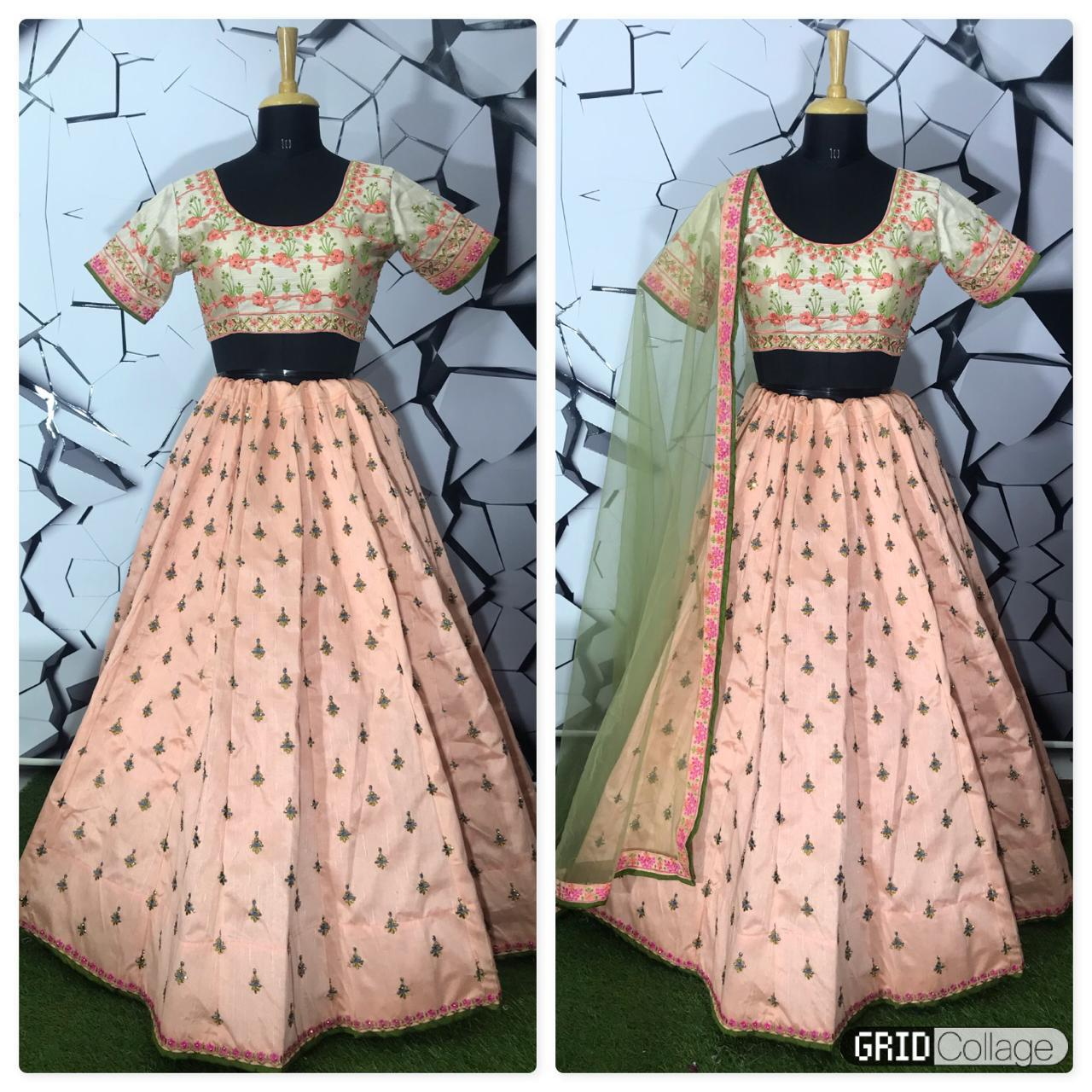 Latest Designer Mulberry Silk With Heavy Embroidery Work Bridesmaid Lehenga Collection At Wholesale Rate