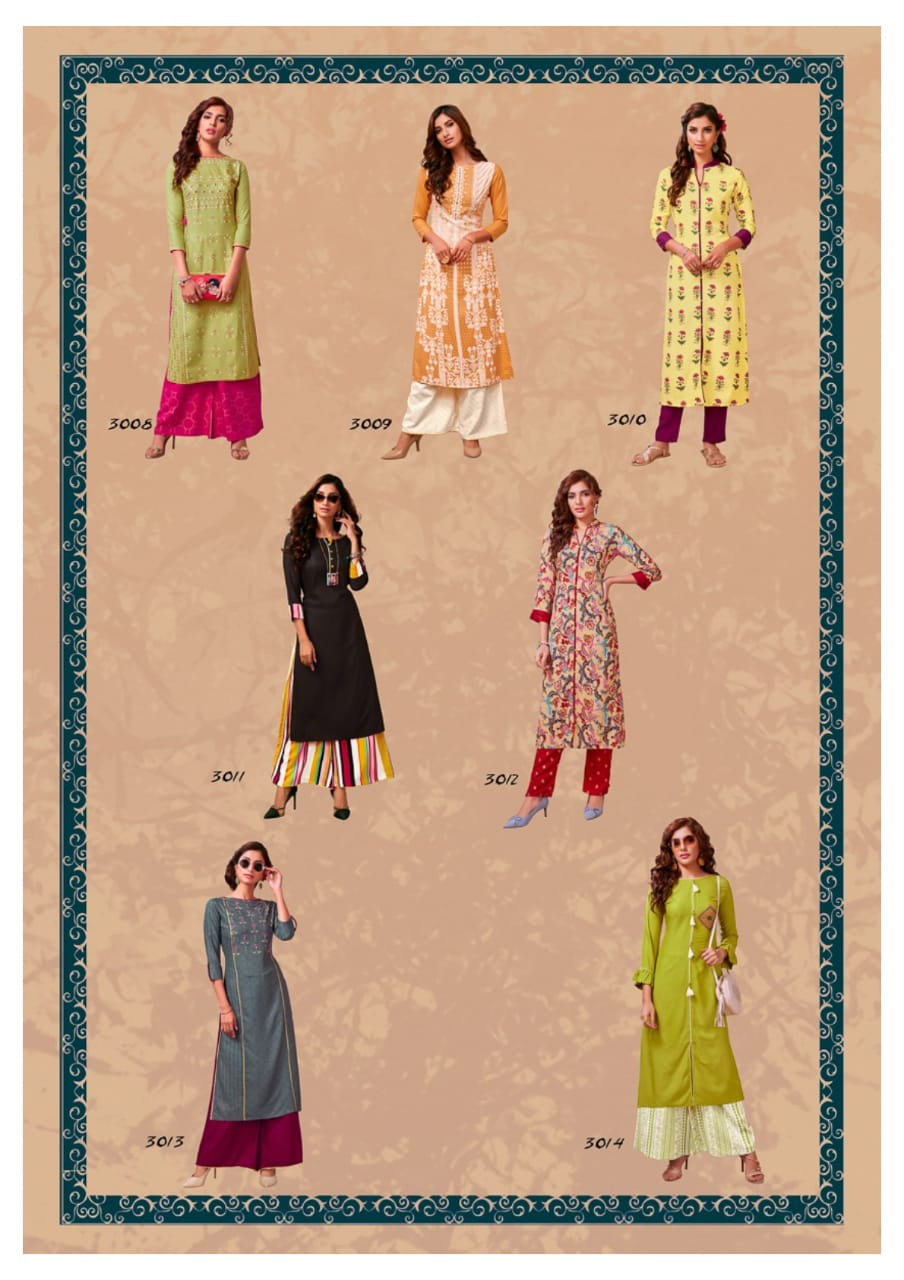 Diya Trendz Biba's Vol 3 Designer Printed Heavy Rayon Readymade Straight Kurtis With Palazzo At Wholesale Rate