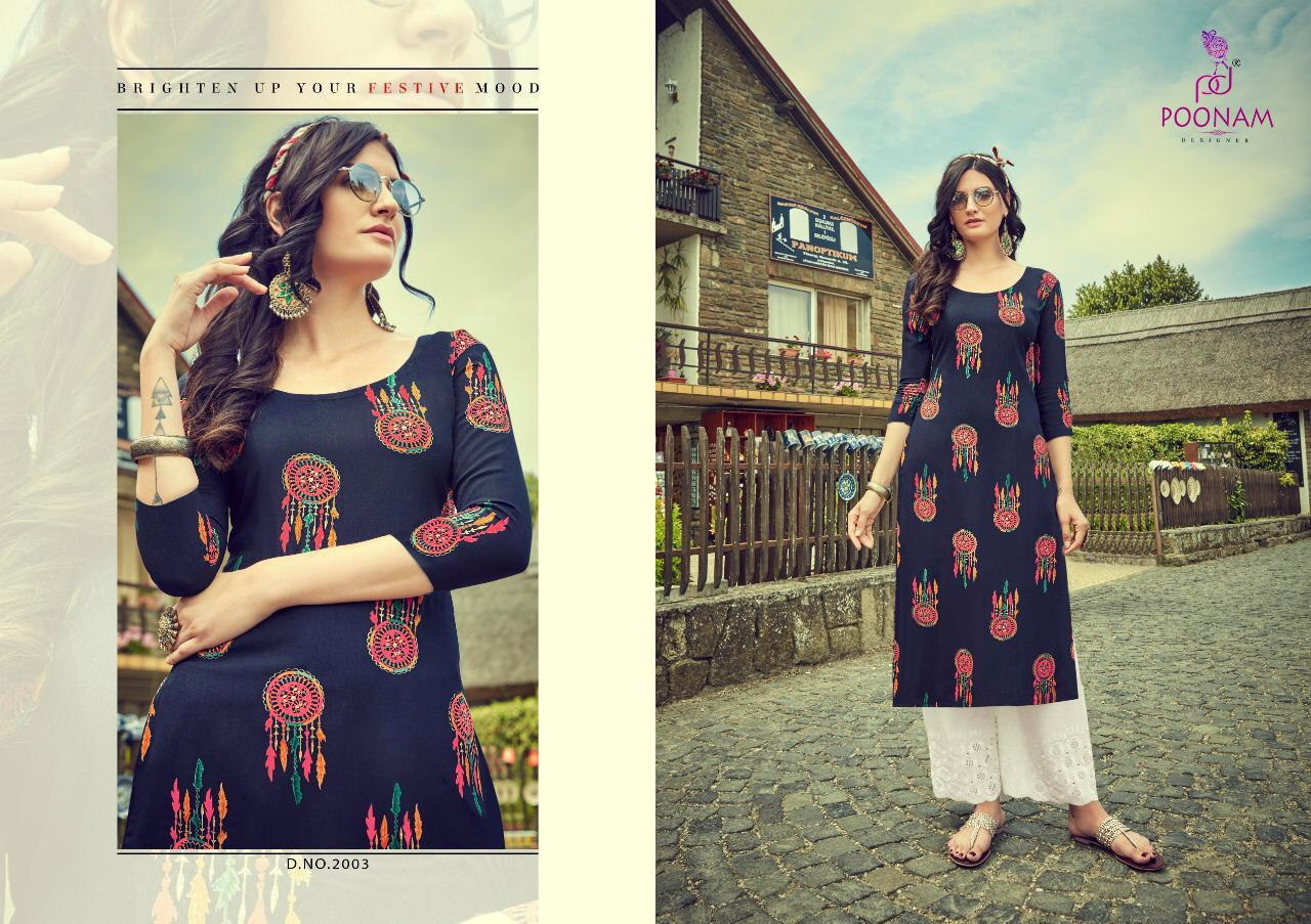 Poonam Designer Silfi Plazo House Vol 2 Designer Foil Printed Heavy Rayon Readymade Kurtis With Palazzo At Wholesale Rate
