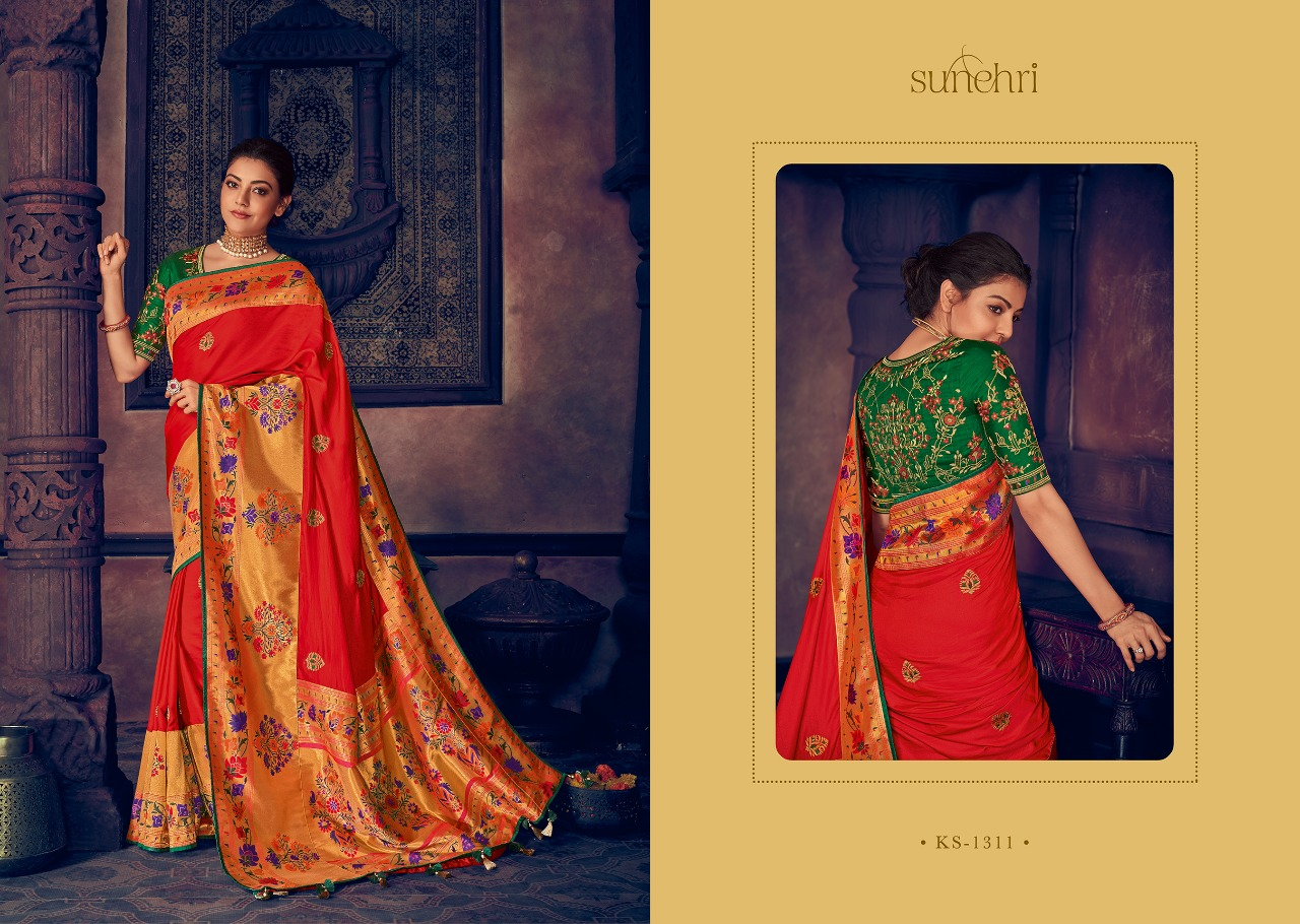Kimora Fashion Sunehri Vol 13 Heavy Designer Silk With Embroidery Work Sarees Collection At Wholesale Rate