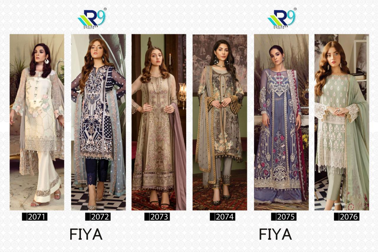 R9 Designer Fiya Faux Georgette And Net With Heavy Embroidery Work Pakistani Dress Material At Wholesale Rate