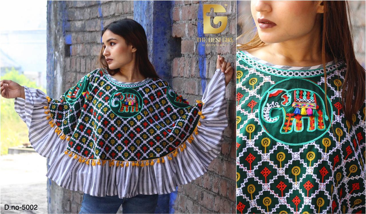 Latest Designer Printed Khadi Handloom With Embroidery Handwork Poncho Collection At Wholesale Rate
