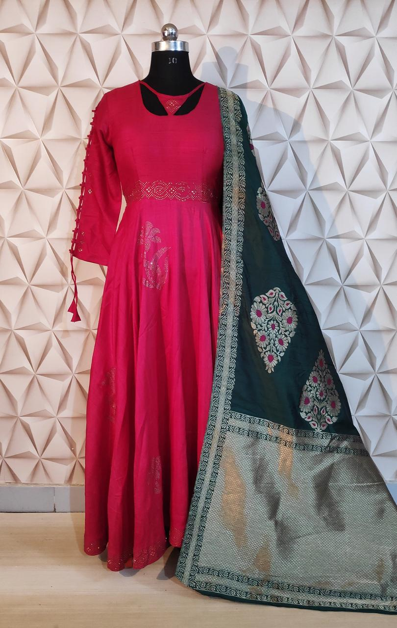 Latest Designer Readymade Party Wear Viscose Silk With Work Gowns With Dupatta At Wholesale Rate