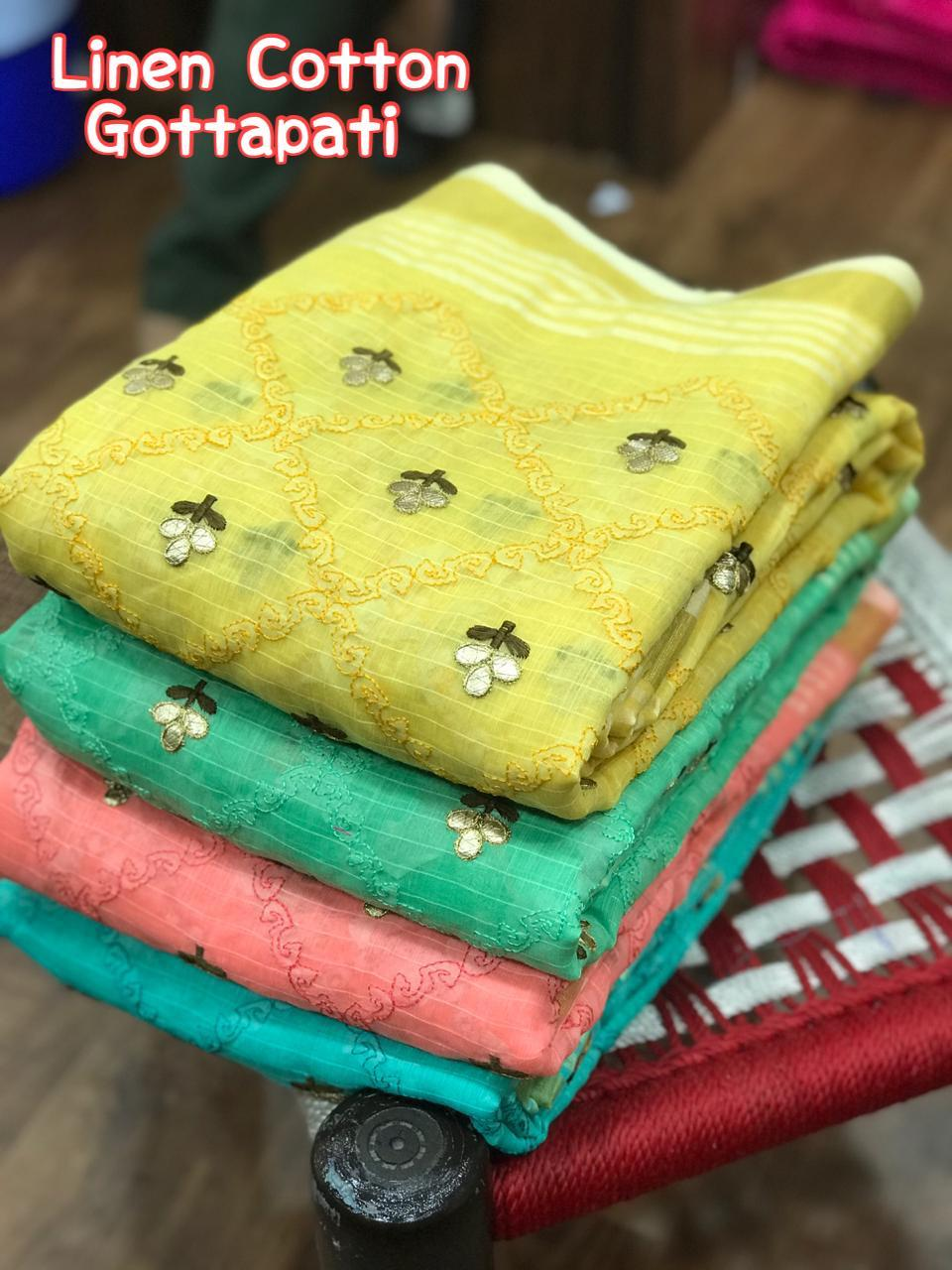 Latest Non Catalog Soft Linen With Gota Patti Work Sarees At Wholesale Rate