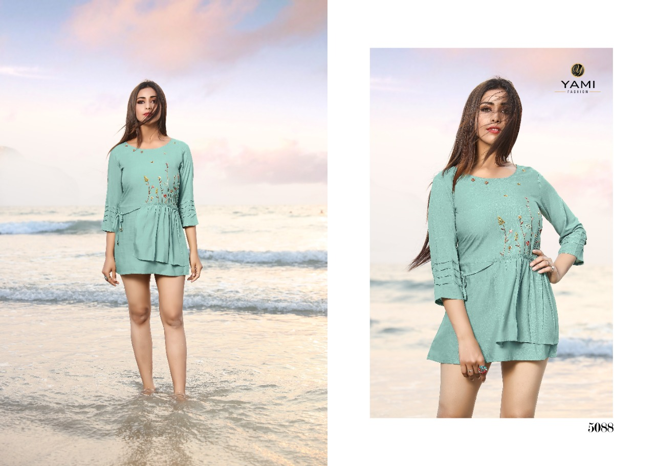 Yami Fashion Bold Vol 3 Rayon With Embroidery Work Readymade Short Kurti Tops At Wholesale Rate