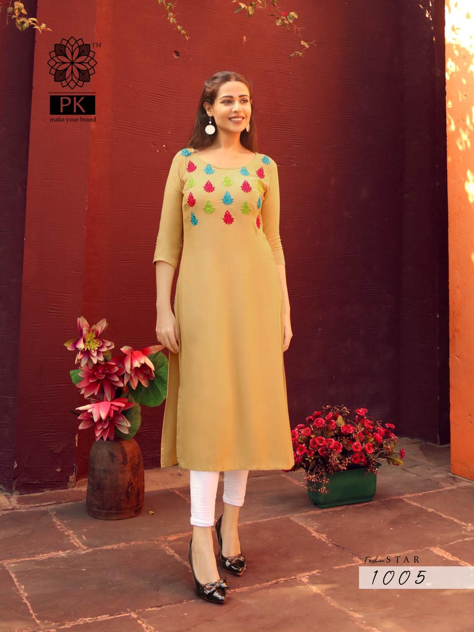 Pk Fashion Aradhna Fashion Star Vol 1 Heavy Rayon With Embroidery Work Readymade Kurtis At Wholesale Rate