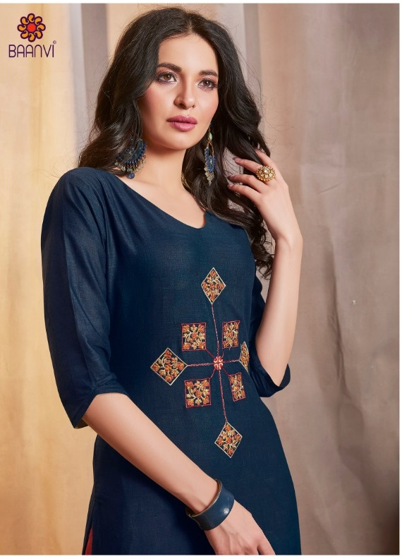 Baanvi Parker Cotton With Embroidery Work Readymade Kurtis With Palazzo Collection At Wholesale Rate