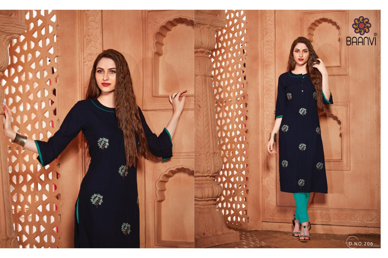 Baanvi Diva Vol 2 Rayon Slub With Embroidery Work Readymade Kurtis Collection At Wholesale Rate
