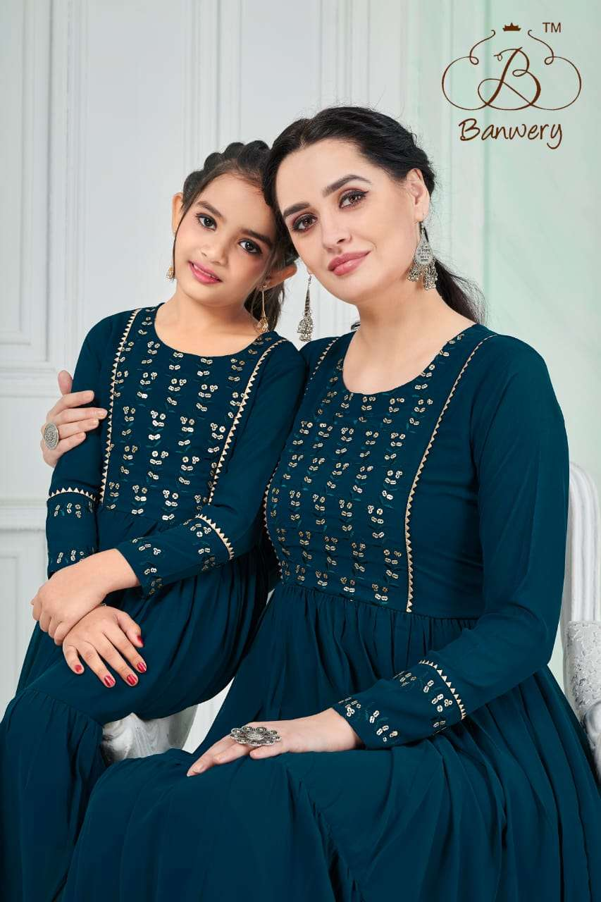 Banwery Fashion Me And Mom Georgette Gown And Frock Mother Daughter Collection At Wholesale Rate