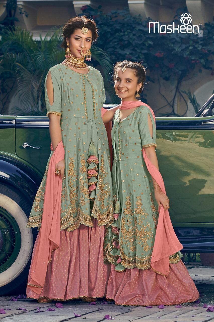 Maisha Maskeen Riwaayat Heavy Designer Embroidered Silk And Georgette Mother Daughter Wedding Suits Collection