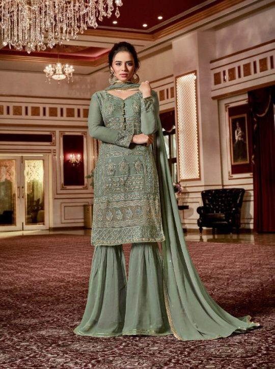 8749333cc0 Vipul Fashion Crystal Dcat Vol 47 Georgette with Heavy Embroidery Work  Sharara Suits at Wholesale Rate