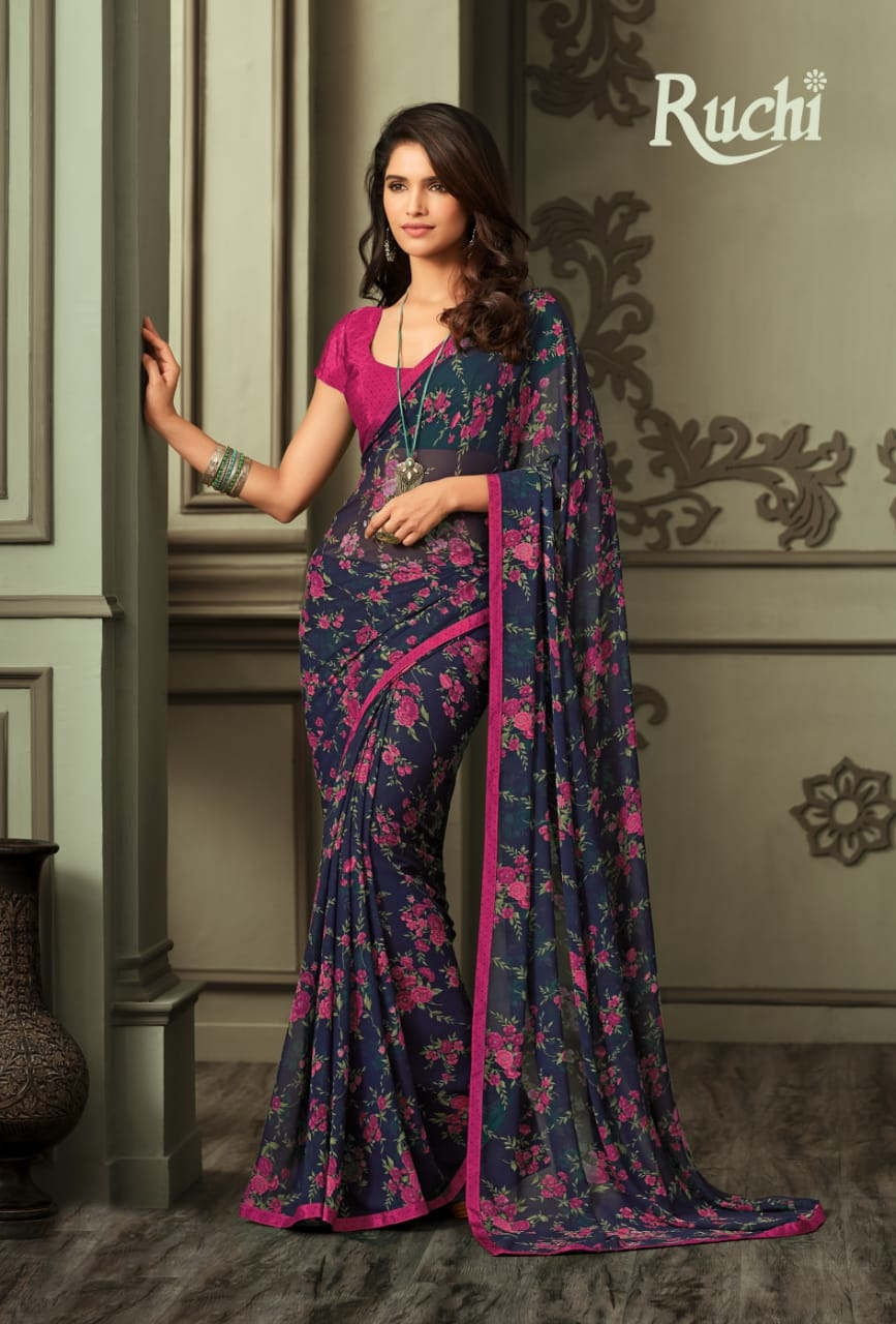 Ruchi Jasmine Printed Georgette Regular Wear Sarees Collection At Wholesale Rate