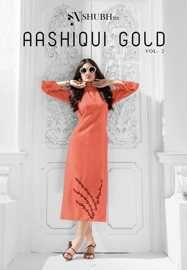 Shubh Nx Aashiqui Gold Vol 2 Designer Fancy Fabric With Work Readymade Kurtis At Wholesale Rate