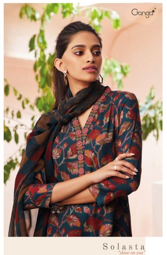 8f2eec1113 Ganga Solasta Shine on You Heavy Designer Printed Pashmina Winter  Collection Dress Material at Wholesale Rate