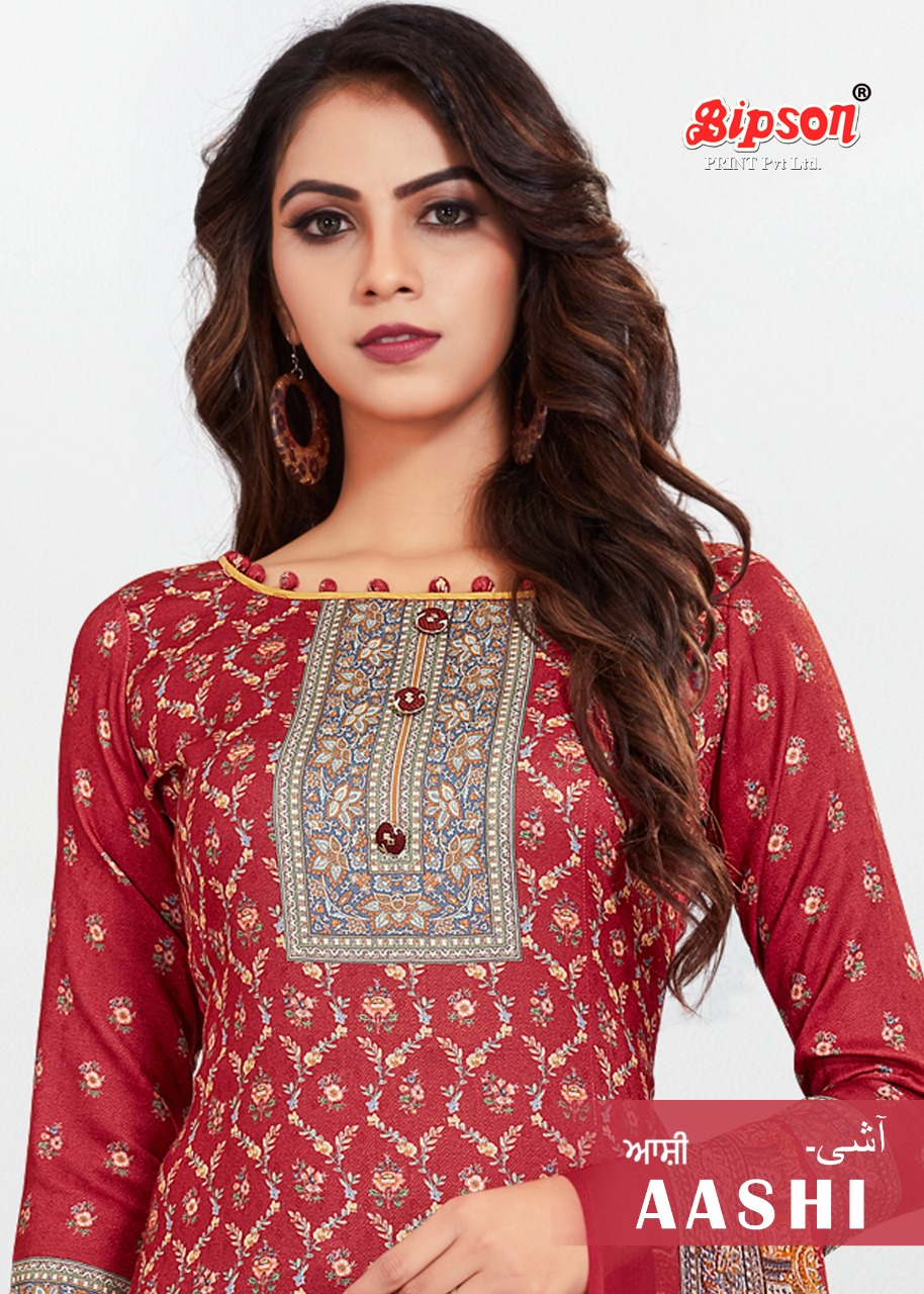 Bipson Aashi 1127 Series Digital Printed Woolen Pashmina Dress Material Collection At Wholesale Rate