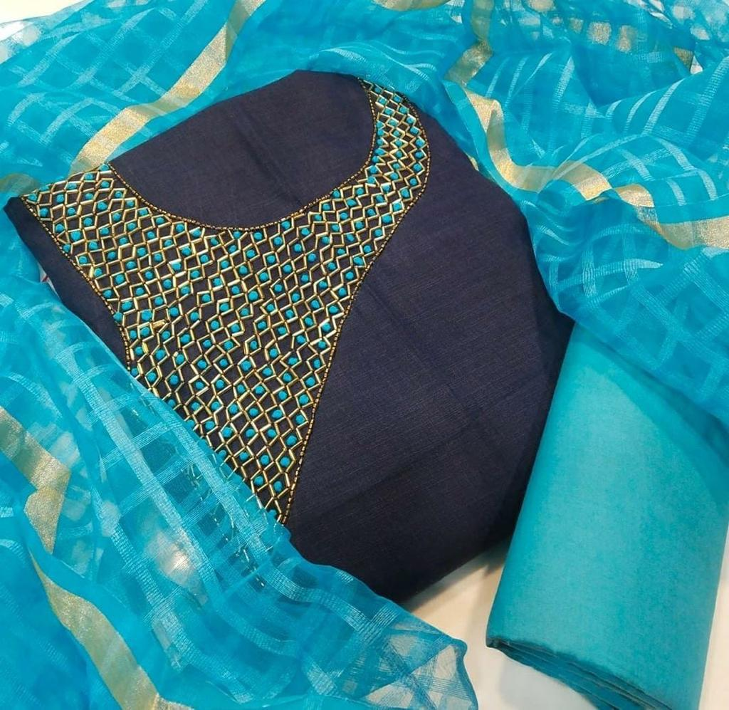 Non Catalog Chanderi Silk With Handwork Dress Material At Wholesale Rate