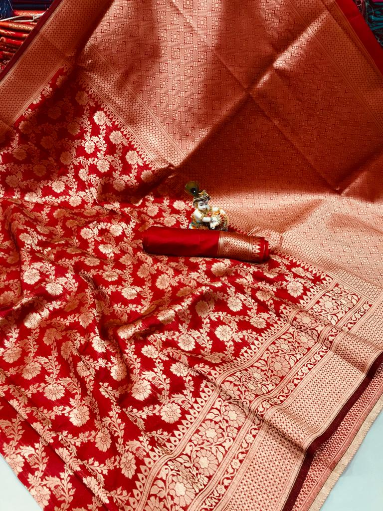 Latest Cotton With Banarasi Silk Party Wear Saree Collection At Wholesale Rate