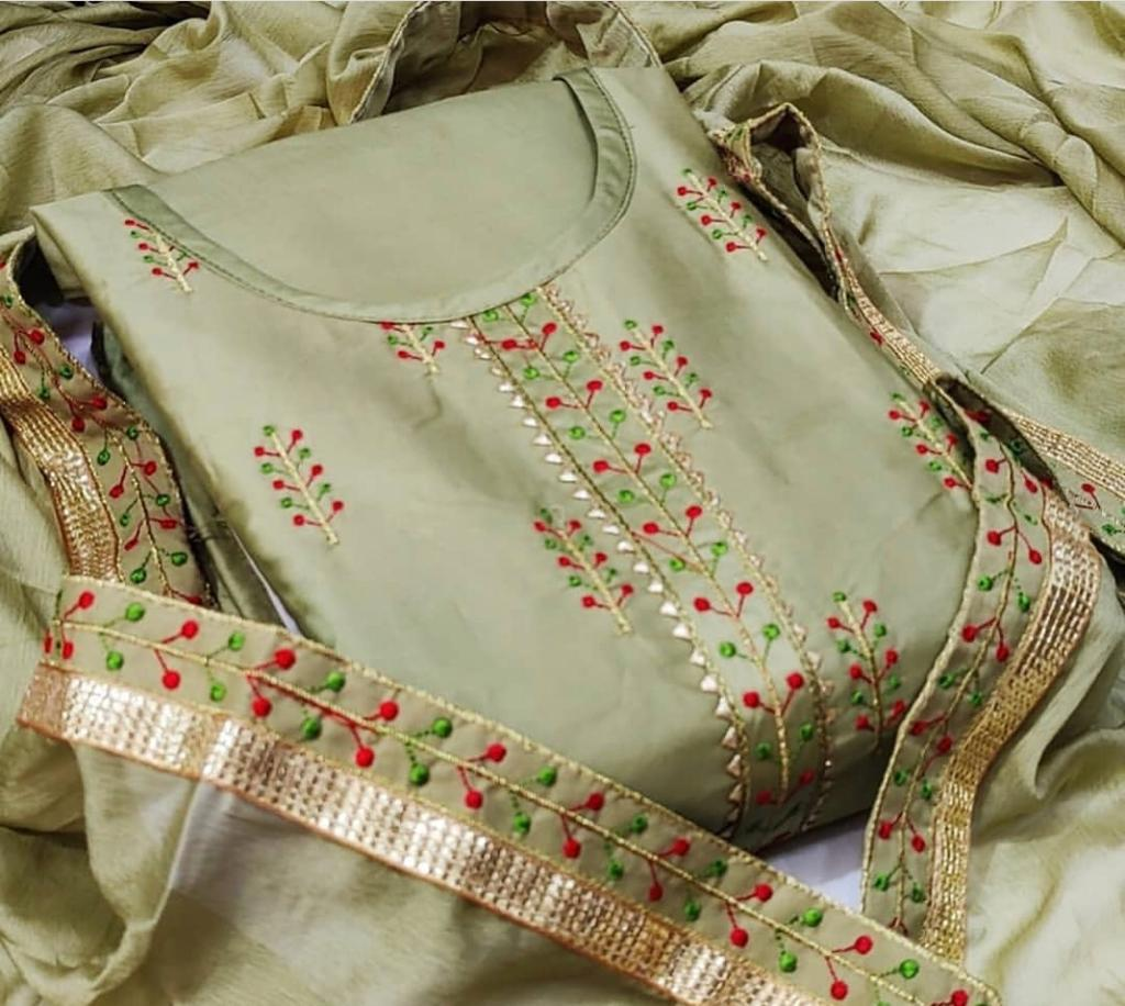 Latest Cotton With Embroidery Work Dress Material At Wholesale Rate